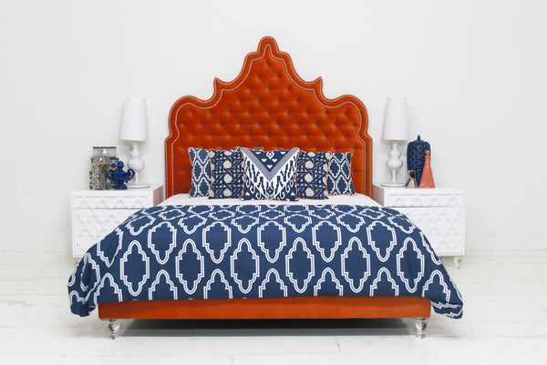 Tangier Bed in Regal Melon Velvet