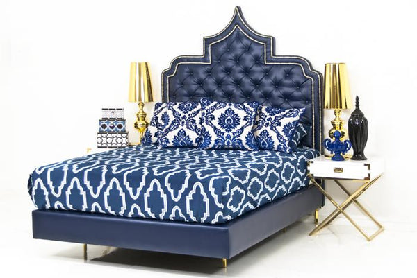 Casbah Bed in Navy Faux Leather