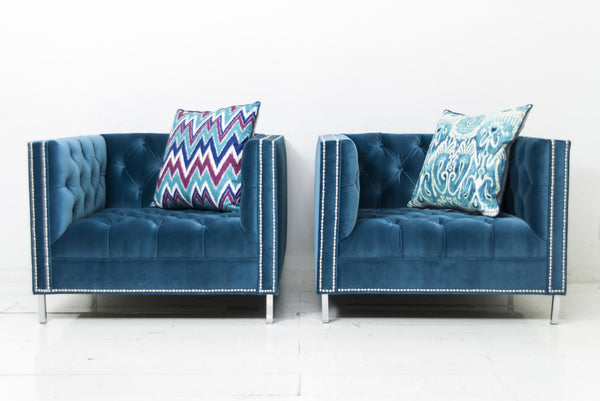 Hollywood Chair in Como Cyan Velvet