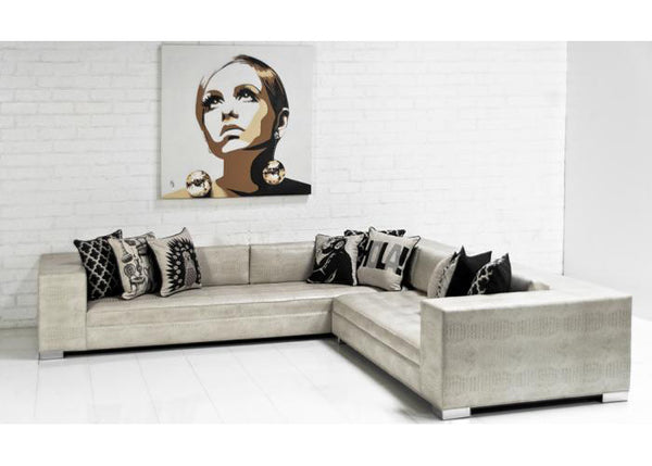 Fat Boy Sectional in Neutral Embossed Faux Croc Leather - ModShop1.com
