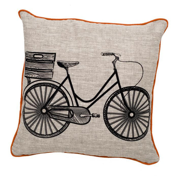 Retro Bicycle Pillow Black & Oatmeal - ModShop1.com