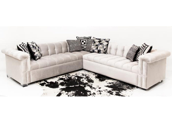 Dean Martin Sectional In Mystere Dove Velvet