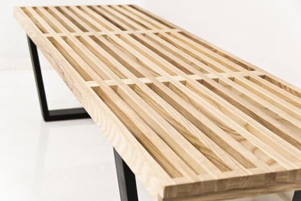 The Slatted White Oak Indoor Bench