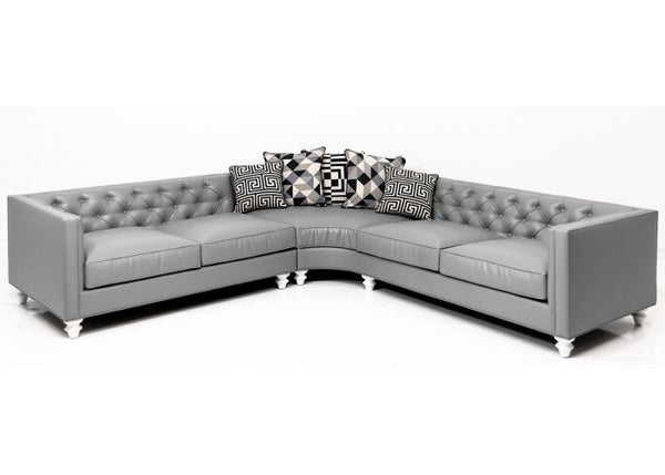 Hollywood Curved Sectional In Grey Faux Leather - ModShop1.com