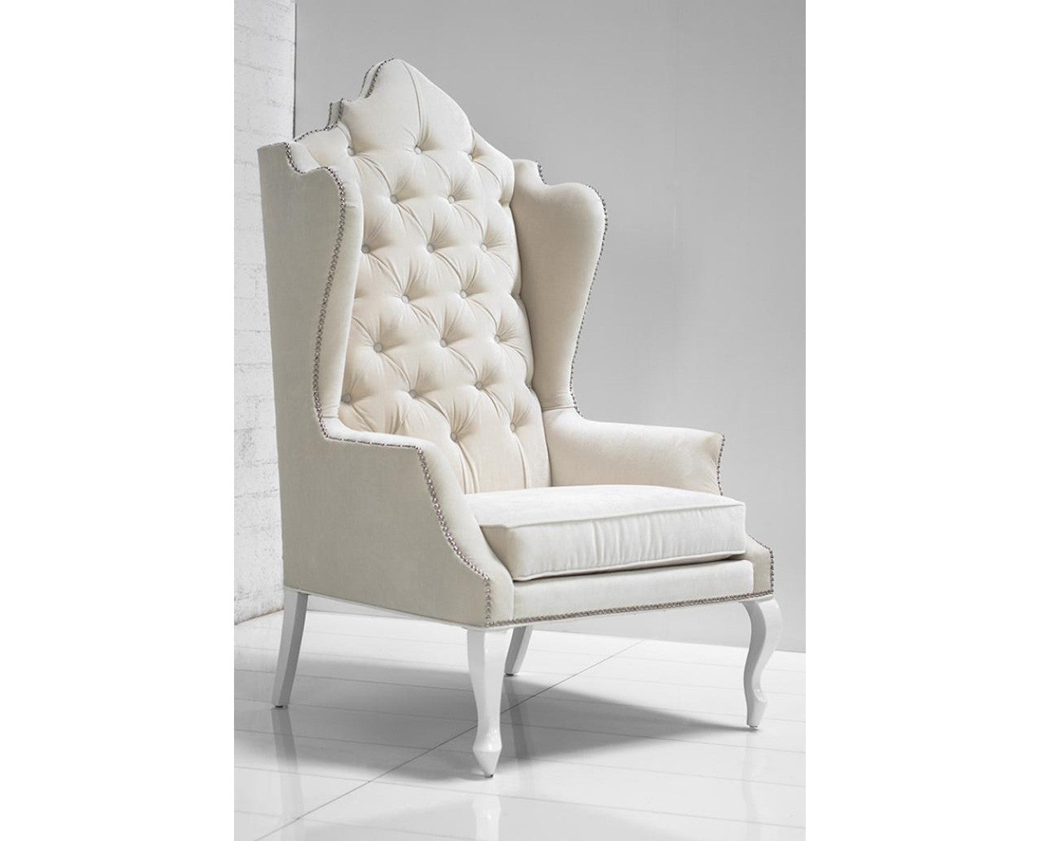 Superb Casablanca Wing Chair In Off White Velvet