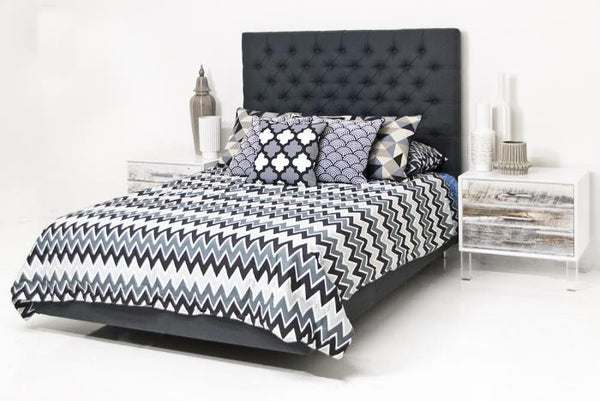 Roosevelt Bed in Charcoal Linen