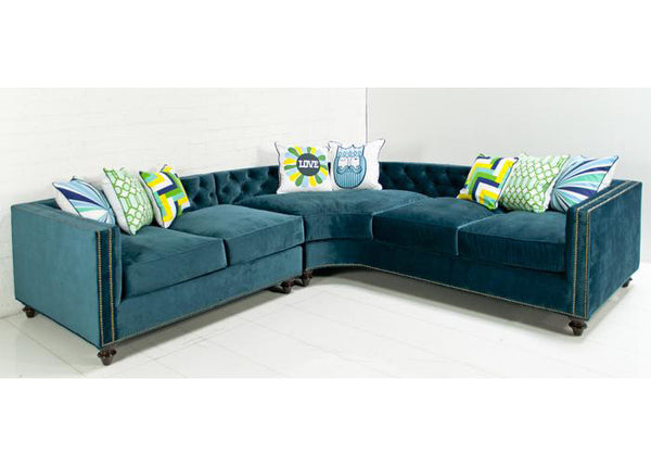 Hollywood Curved Sectional In Peacock Velvet
