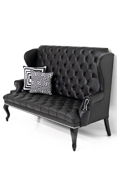 Brixton Loveseat in Black Faux Leather