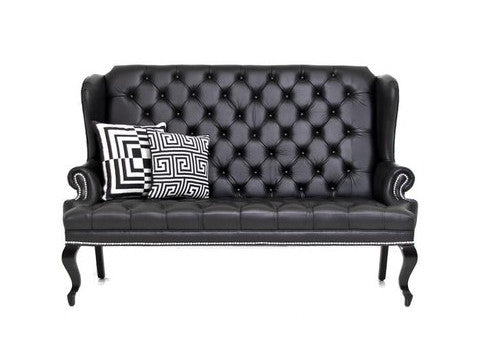 Brixton Loveseat in Black Faux Leather - ModShop1.com