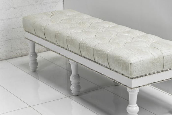Bel-Air Bench in Faux Cream Croc Leather