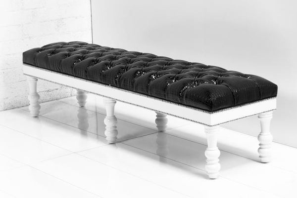 Bel-Air Bench in Faux Black Croc Patent Leather