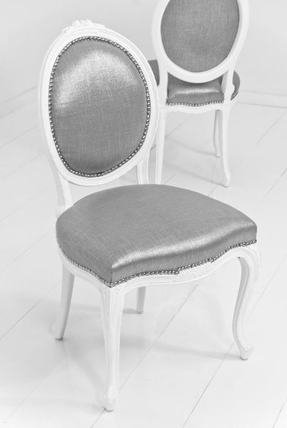 Victoria Dining Chair in Metallic Talpa Linen - ModShop1.com