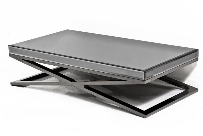 x-leg coffee table in fat black chrome and smoked mirror coffee