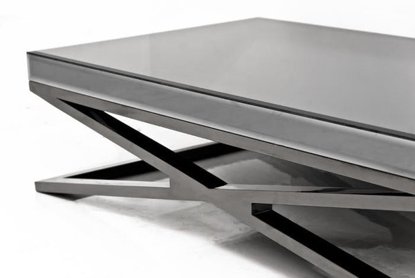 X-Leg Coffee Table in Fat Black Chrome and Smoked Mirror