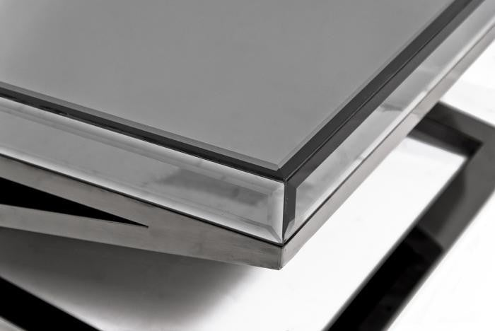 X-Leg Coffee Table in Fat Black Chrome and Smoked Mirror - ModShop1.com