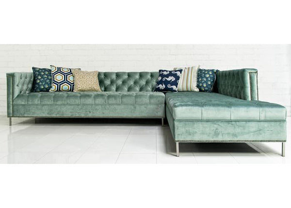 Hollywood Sectional in Brussels Aqua Velvet