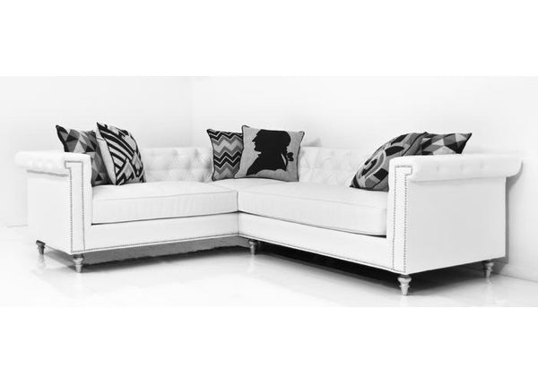 Sinatra Sectional In Mesa White Faux Leather - ModShop1.com