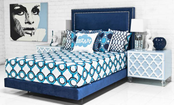 Palm Beach Bed in Patriot Blue Velvet