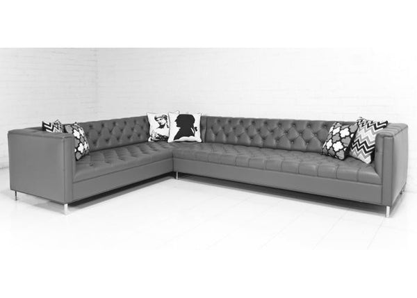 Hollywood Sectional in Dark Grey Genuine Leather