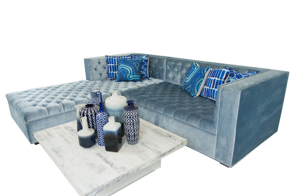 Fat Albert Tufted Sectional Ice Blue
