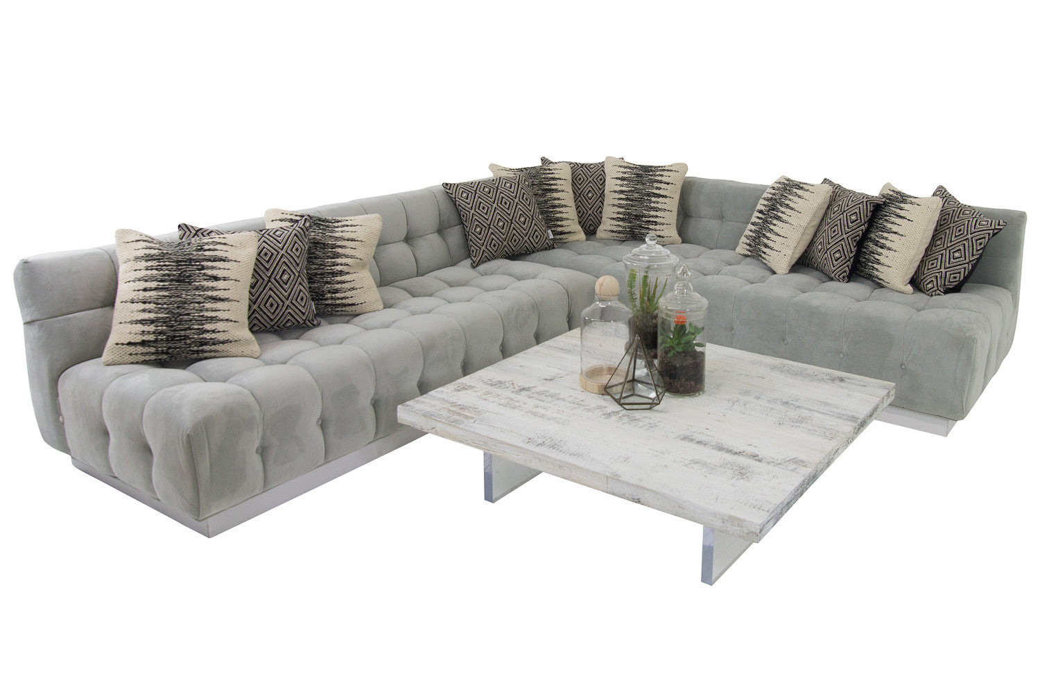 Exceptionnel Delano Sectional In Bella Grey Velvet