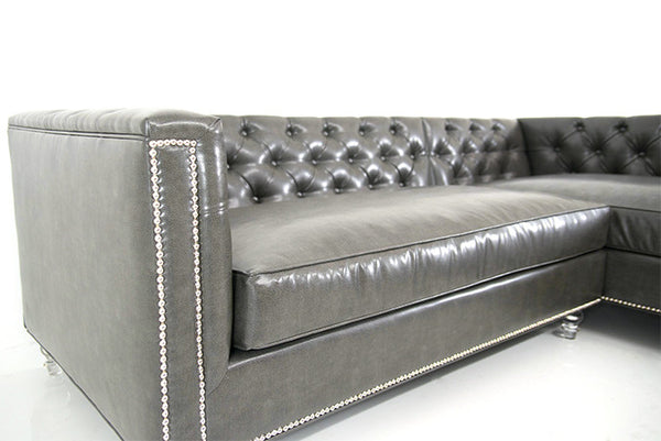 Hollywood Sectional in Charcoal Grey Faux Leather