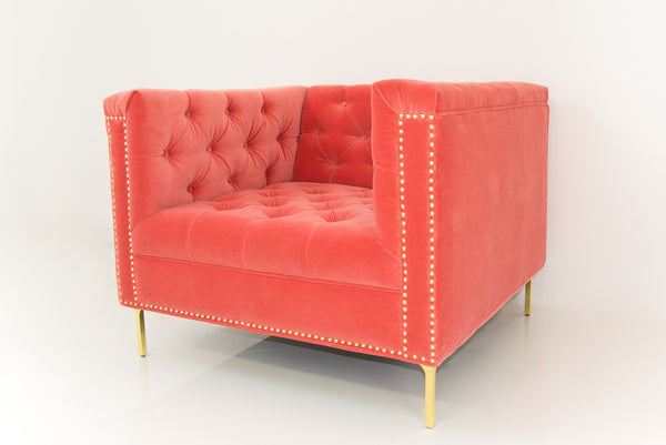 Hollywood Chair in Coral Velvet*