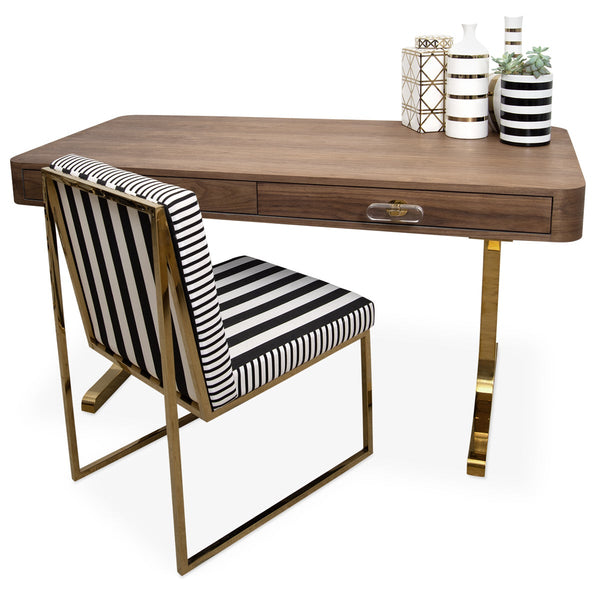 Ibiza Walnut Desk with Brass T-Legs - ModShop1.com