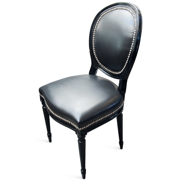 Louis Dining Chair in Black Faux Leather - ModShop1.com