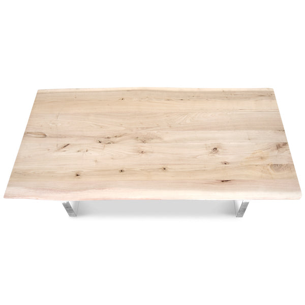 Live Edge Slab Bleached Solid Walnut Coffee Table - ModShop1.com