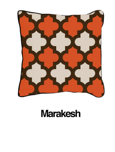 Marrakesh Pillow Two Tone Orange Oatmeal