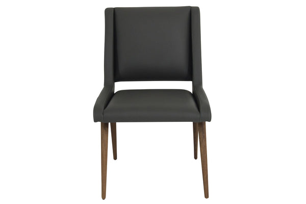 Mid Century Dining Chair in Charcoal Leather