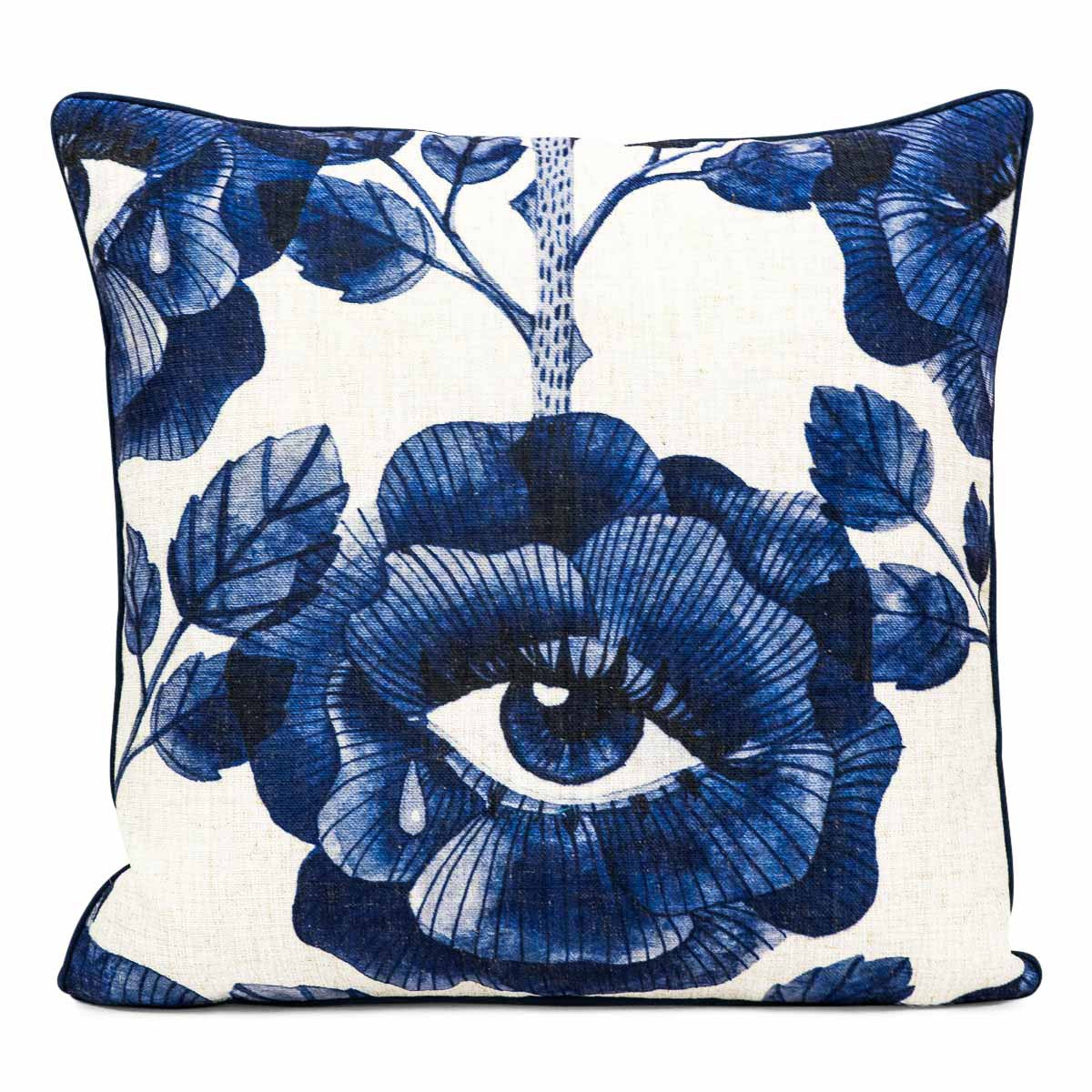 Floral Eyes Pillow in Navy Blue - ModShop1.com