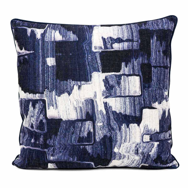 Denim Abstract Pillow in Navy Blue - ModShop1.com