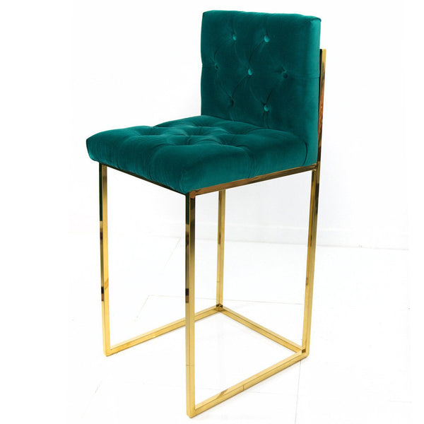 007 Bar Stool in Velvet with Tufted Back and Seats