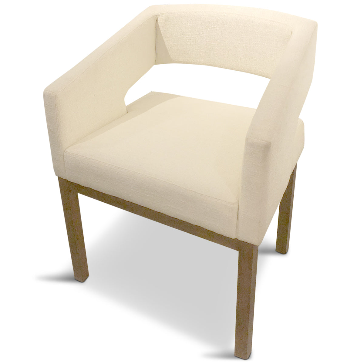 Open Back Dining Chair In Cream Linen