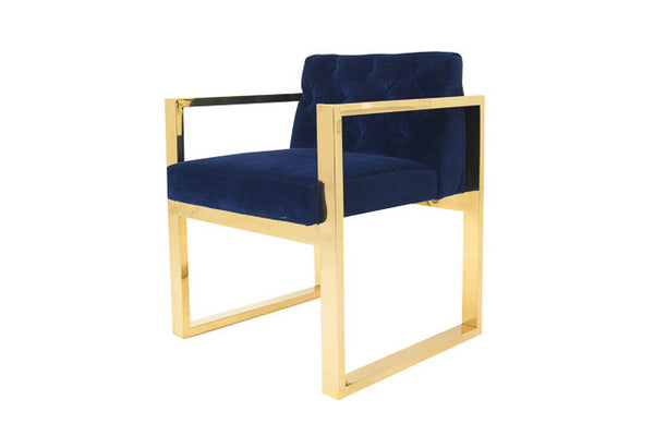 Brass Dining Kube Chair in Navy Velvet