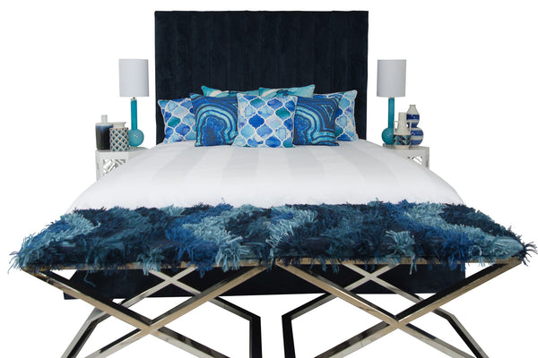 Shoreclub Bed in Navy Velvet