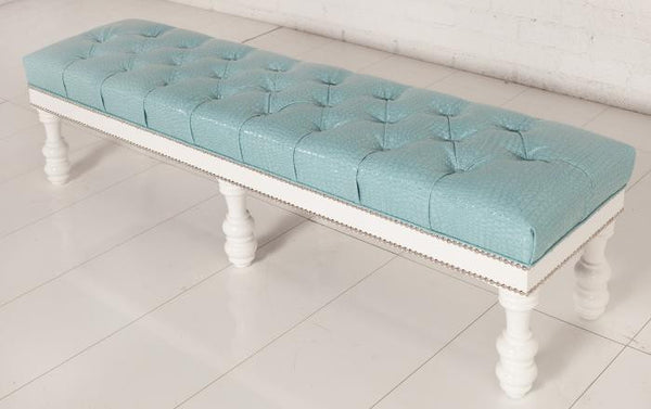 Bel Air Bench in Bright Aqua Croc