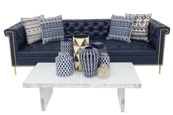 Sinatra Sofa in Navy Faux Leather