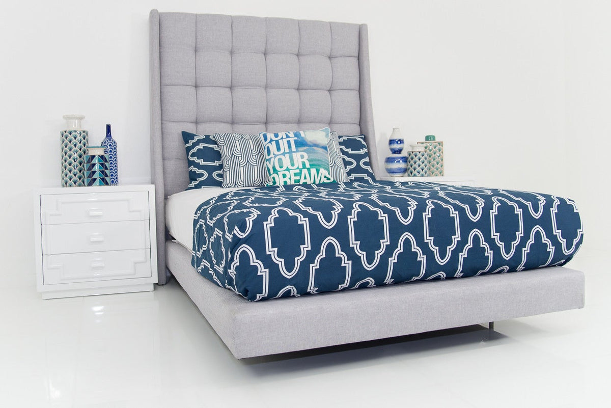 St. Tropez Bed in Heather Silver-Grey Linen - ModShop1.com