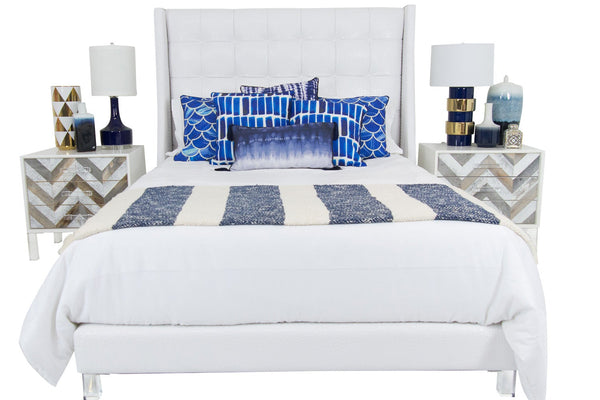 St. Tropez Bed in White Faux Croc