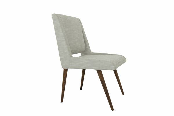 Mid Century Dining Chair in Cream Linen