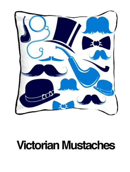 Victorian Mustaches Blue