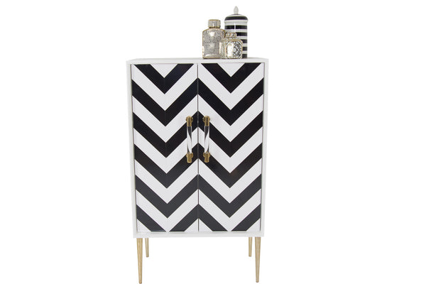 Styled shot of the front of the zig zag bar cabinet