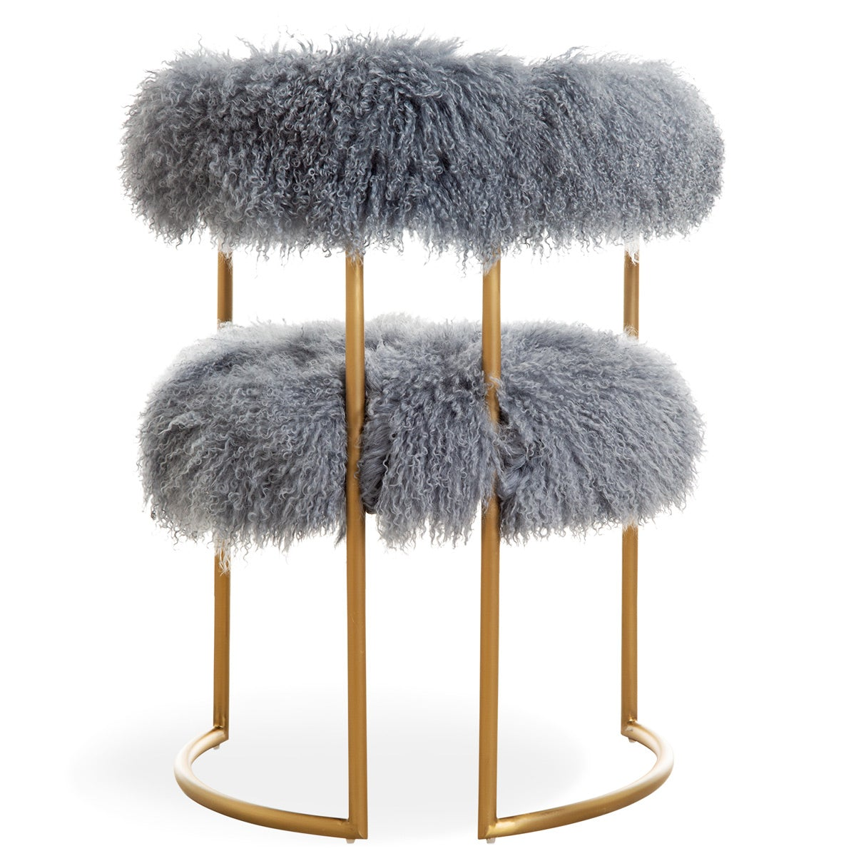 Acapulco 2 Dining Chair in Steel Mongolian Fur - ModShop1.com