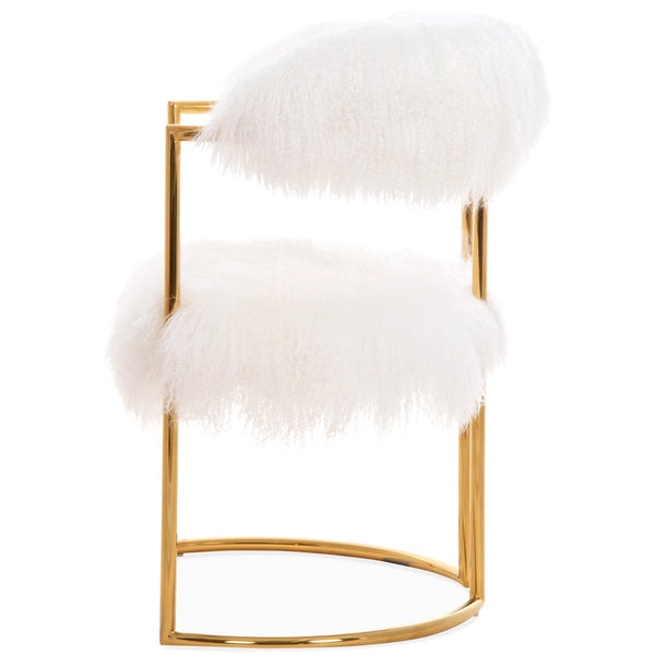 Acapulco 2 Dining Chair in Mongolian Fur - ModShop1.com