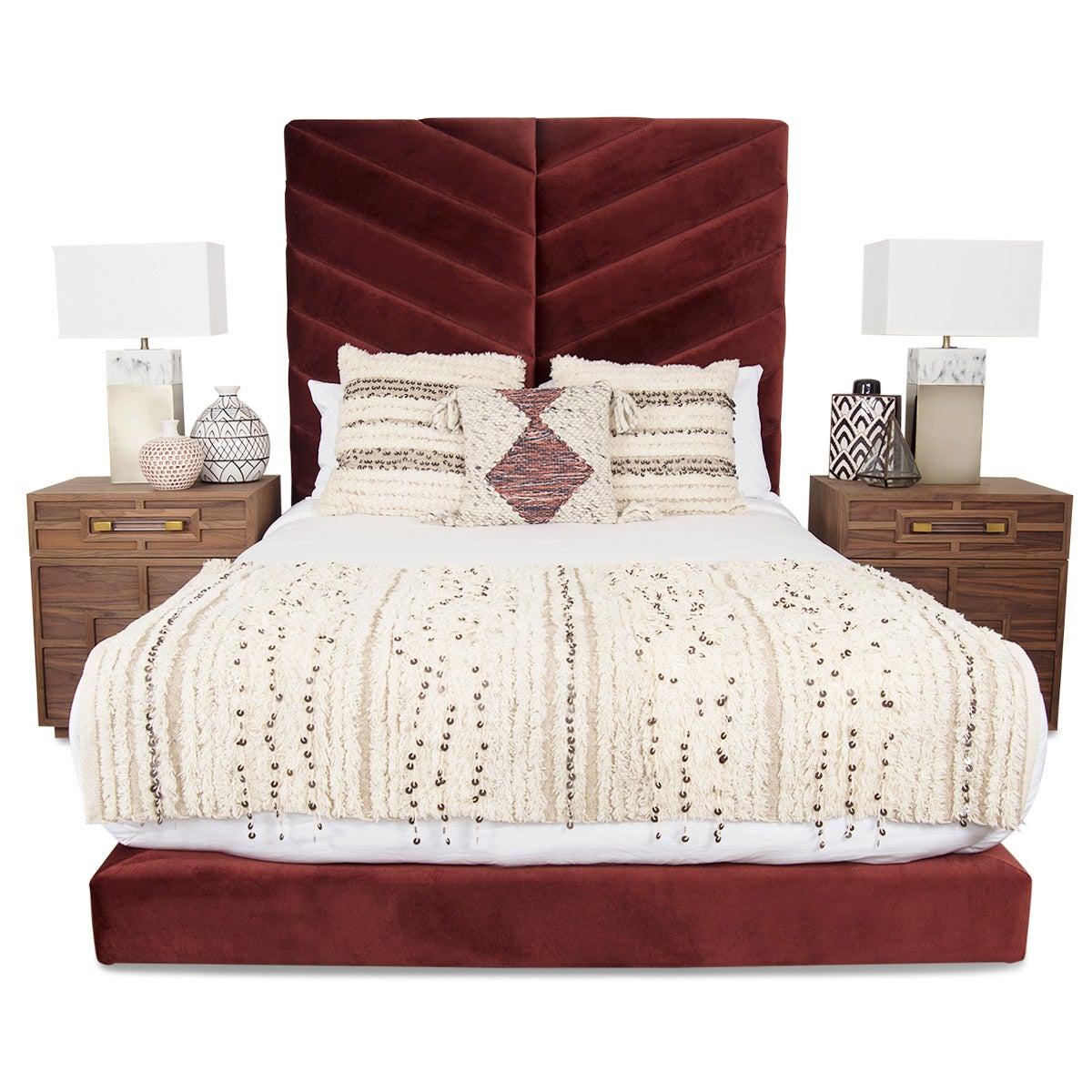 Amalfi Bed in Velvet - ModShop1.com