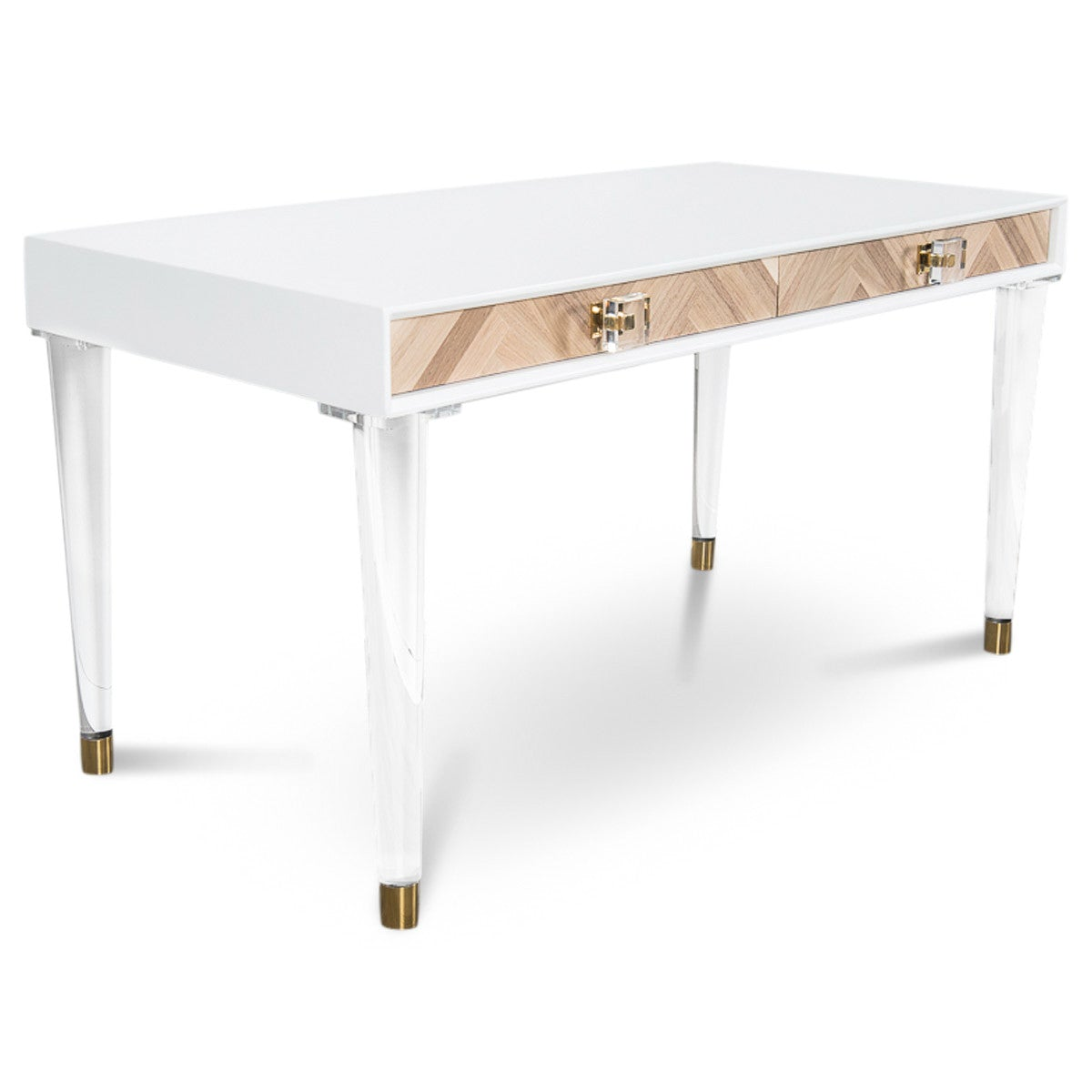 Amalfi Desk With Lucite Cone Legs Natural Wood Desk Modshop