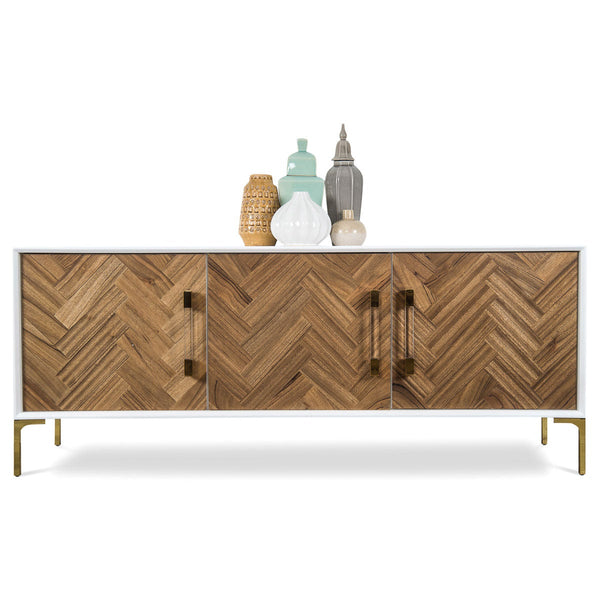 Amalfi 3 Door Credenza in Bleached or Oiled Walnut - ModShop1.com
